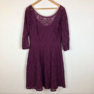 WHBM Purple Fit & Flare Lace Stretch Dress